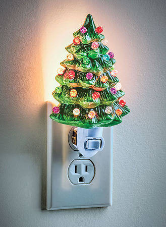 Ceramic Christmas Tree With Lights.Ceramic Christmas Tree Night Light